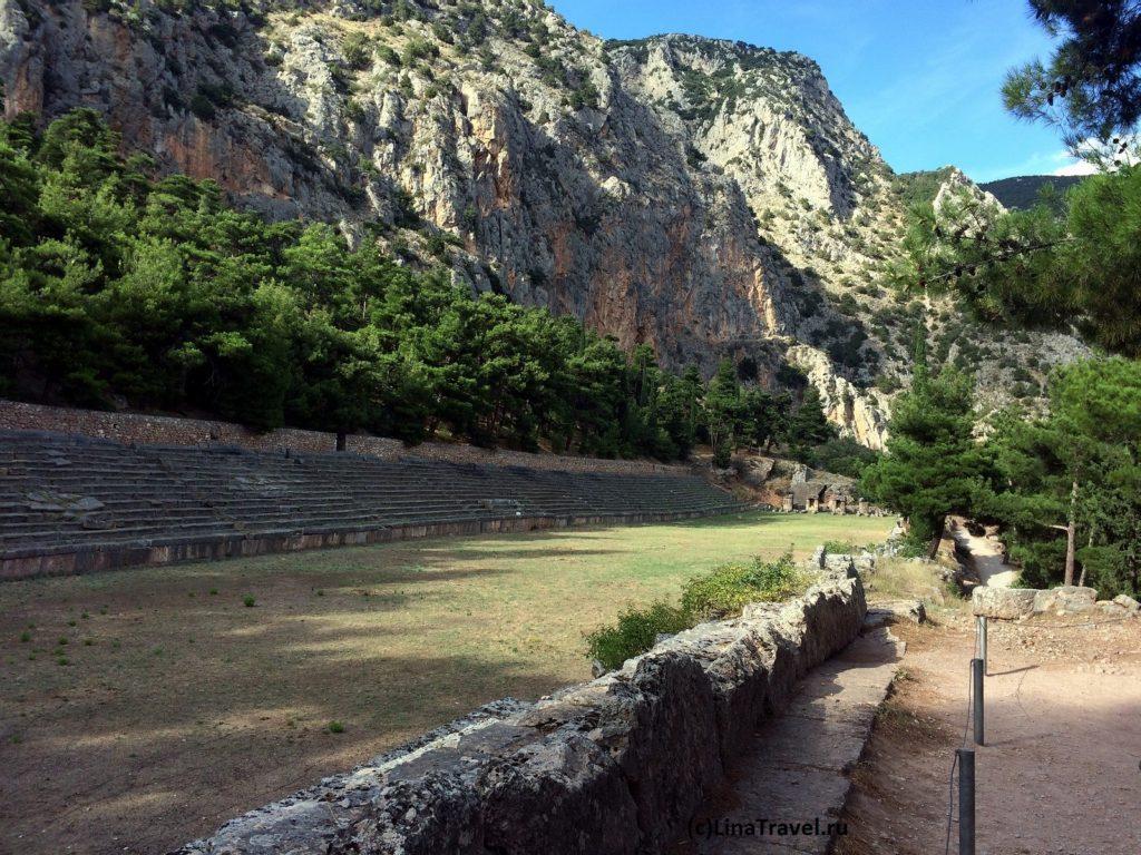 Стадион в Древних Дельфах в Греции.