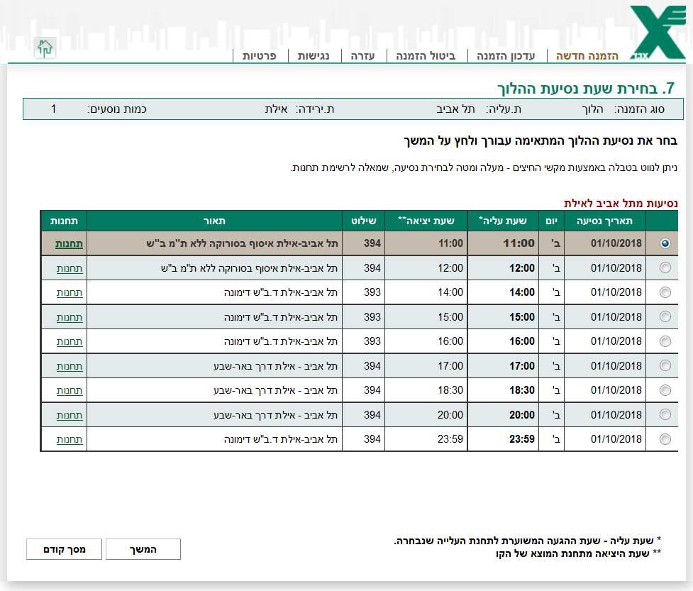 Проверка правильности бронирования билета на автобус из Тель Авива в Эйлат