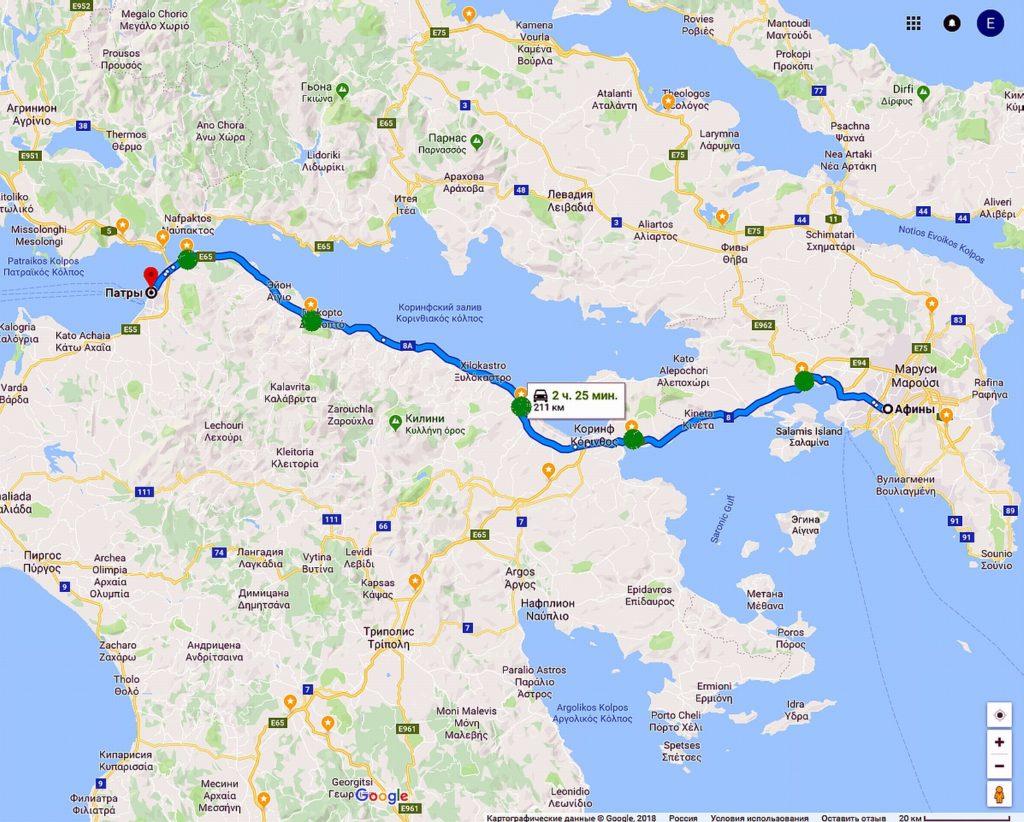 Платная трасса Афины - Патры в Греции