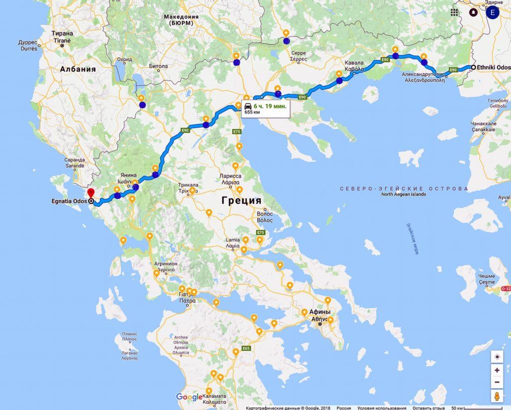 Платная трасса Эгнатия в Греции