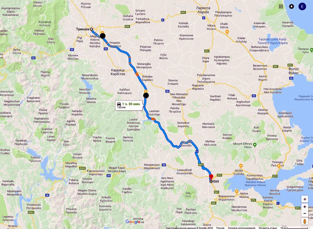 Платный участок на трассе от Ламии до Трикалы в Греции