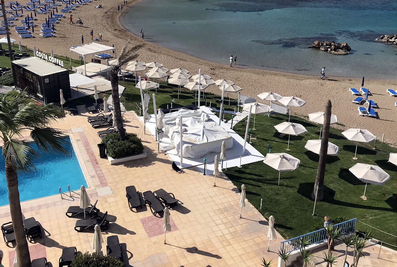 Cyprus. Pola Costa hotel pool and beach view.