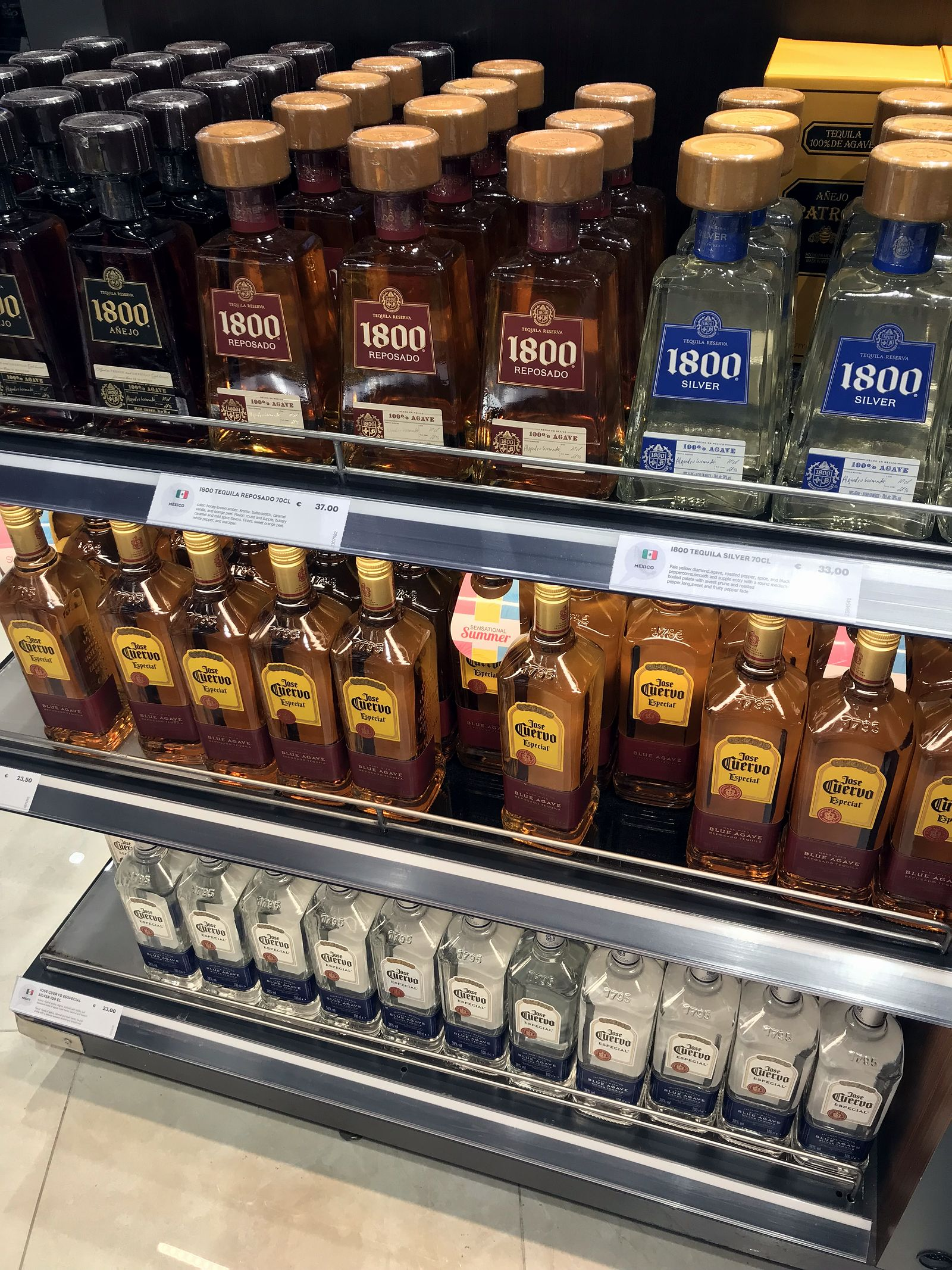 Duty free Antalya, august 2019, tequila 1800, Jose Cuervo