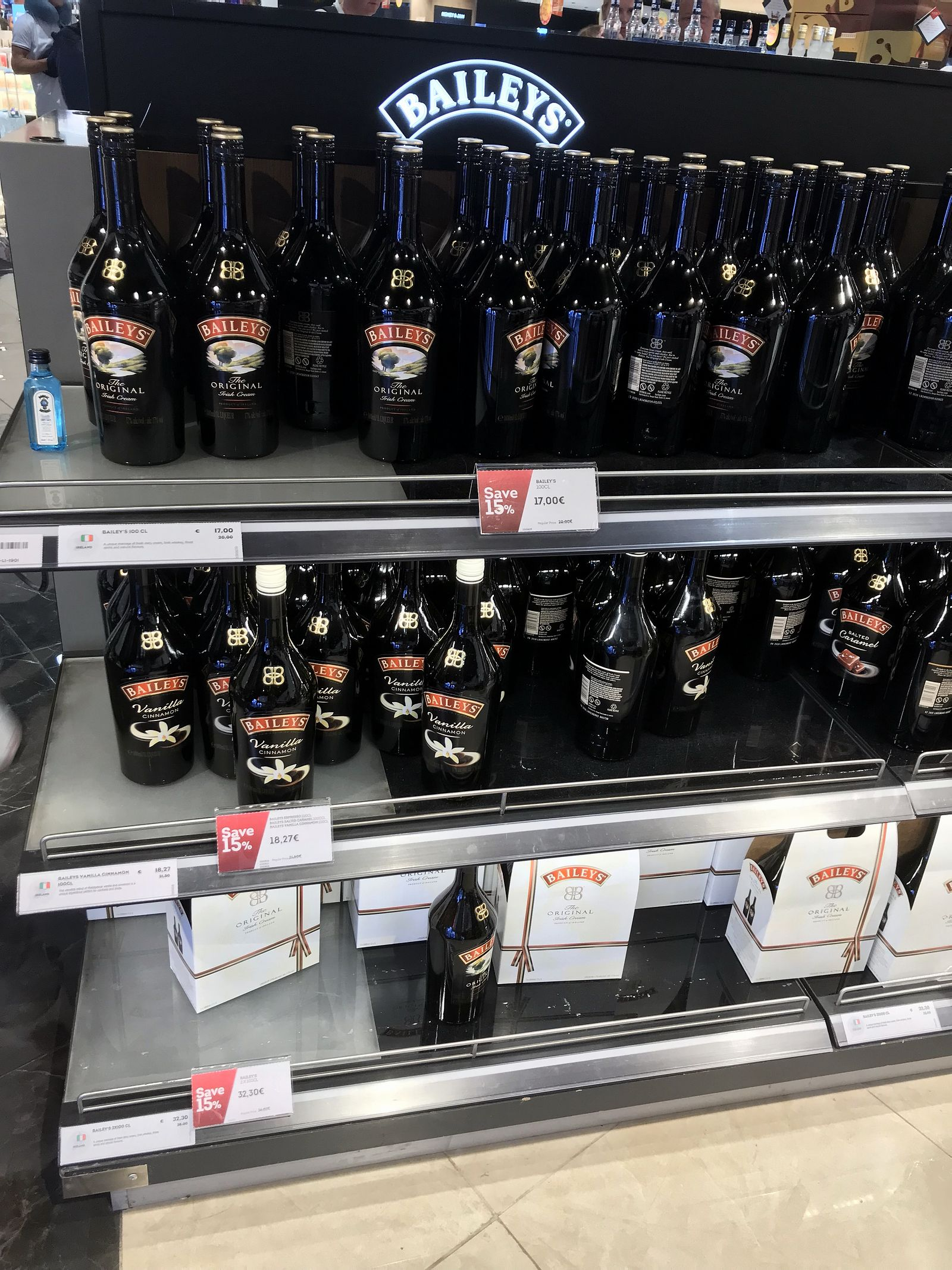 Duty free Antalya, august 2019, liqueur Bailey's