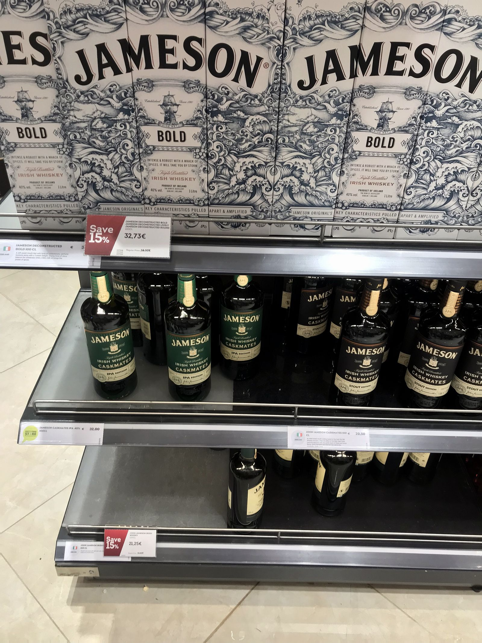 Duty free Antalya, august 2019, whiskey Jameson bold
