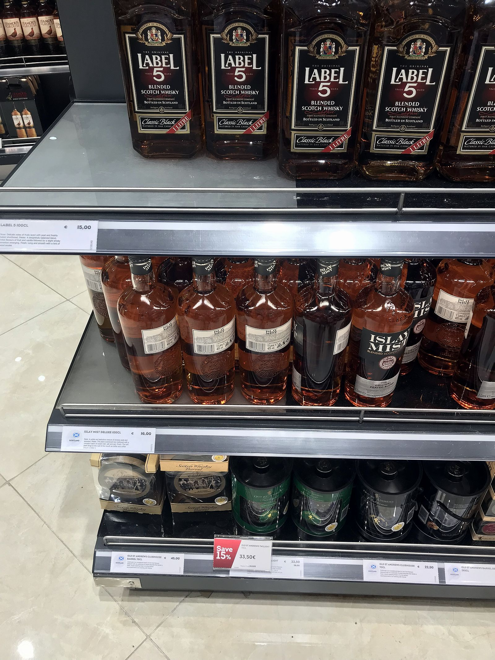 Duty free Antalya, august 2019, whiskey Label 5, Islay mist