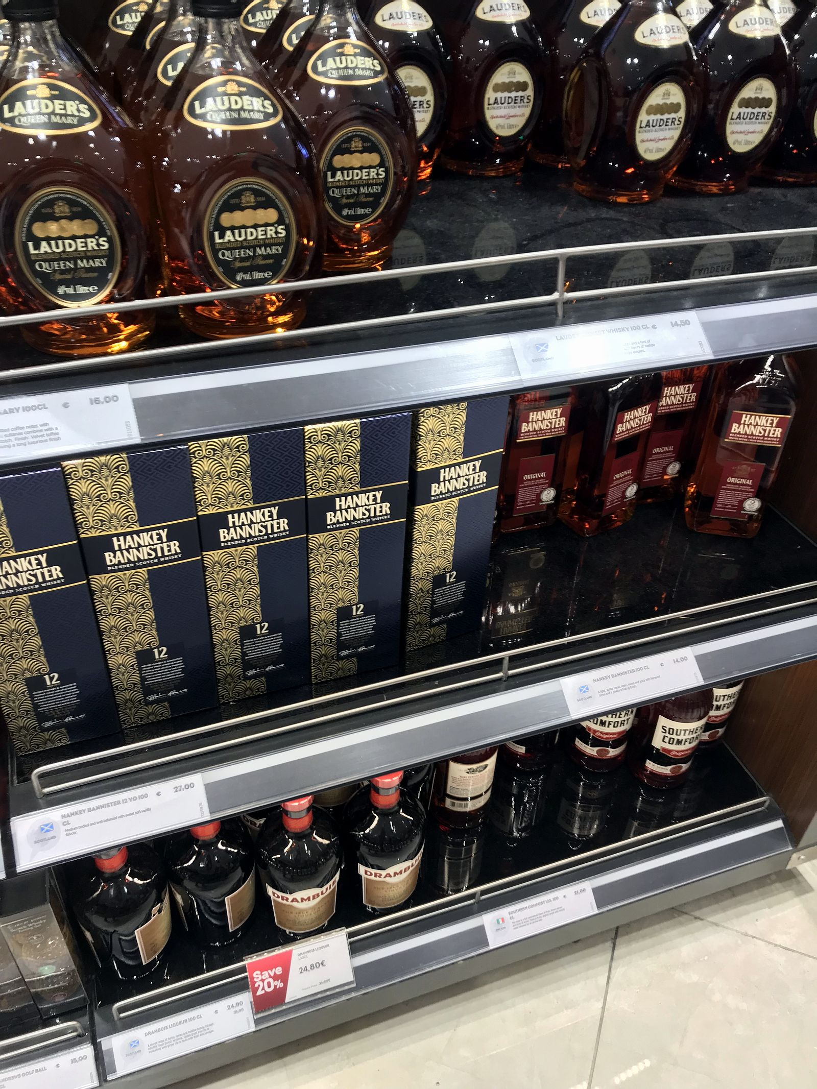 Duty free Antalya, august 2019, whiskey Layder's, Hankey bannister