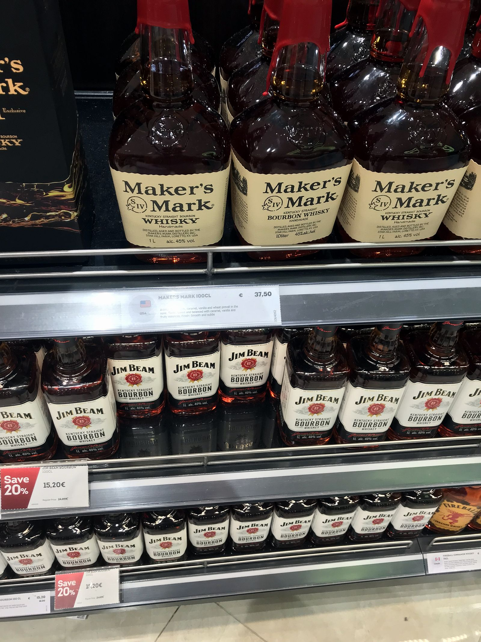 Duty free Antalya, august 2019, bourbon Maker's Mark, Jim Beam