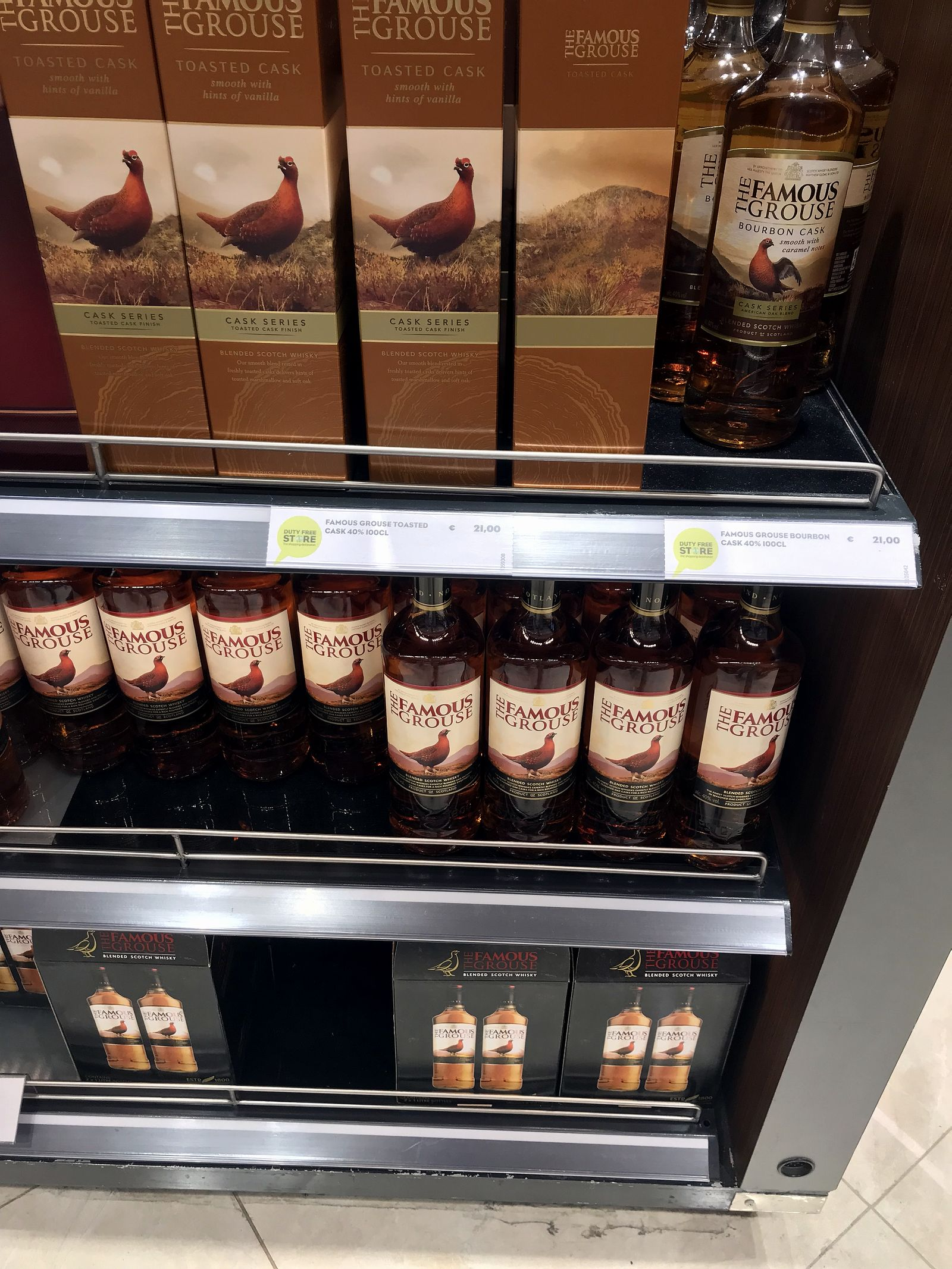 Duty free Antalya, august 2019, whiskey The Famous Grouse