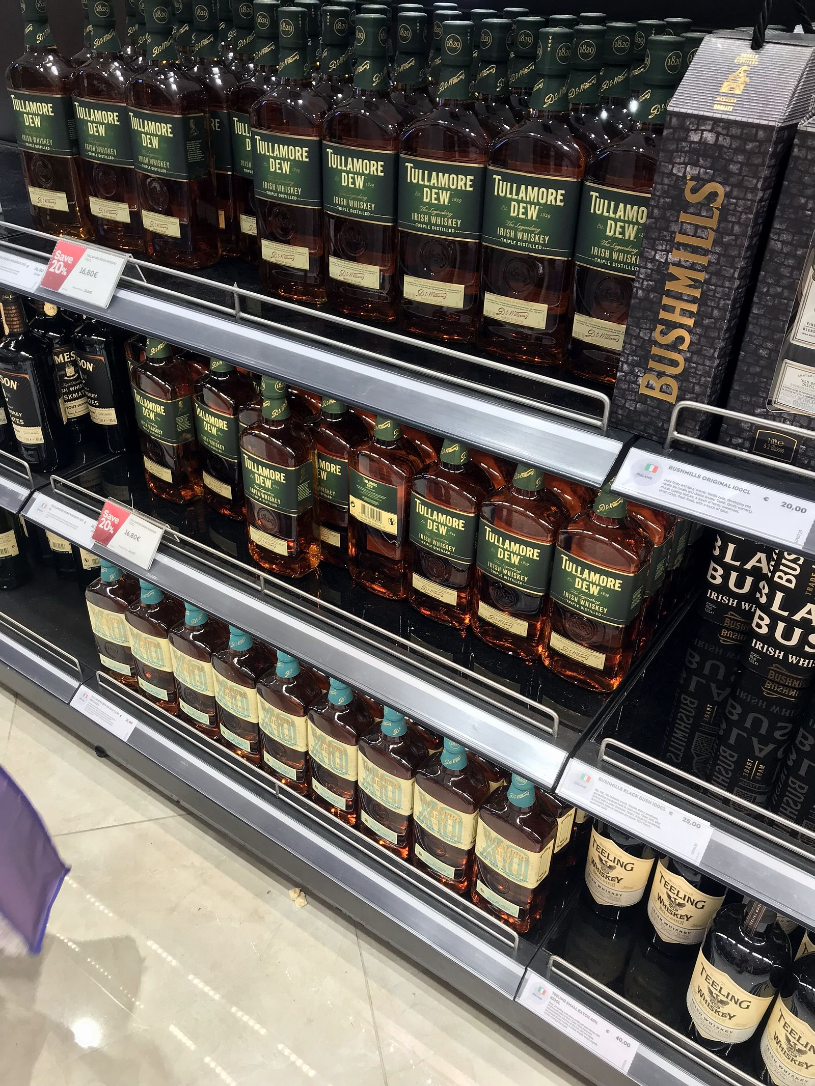 Duty free Antalya, august 2019, whiskey Tullamore dew, Bushmills