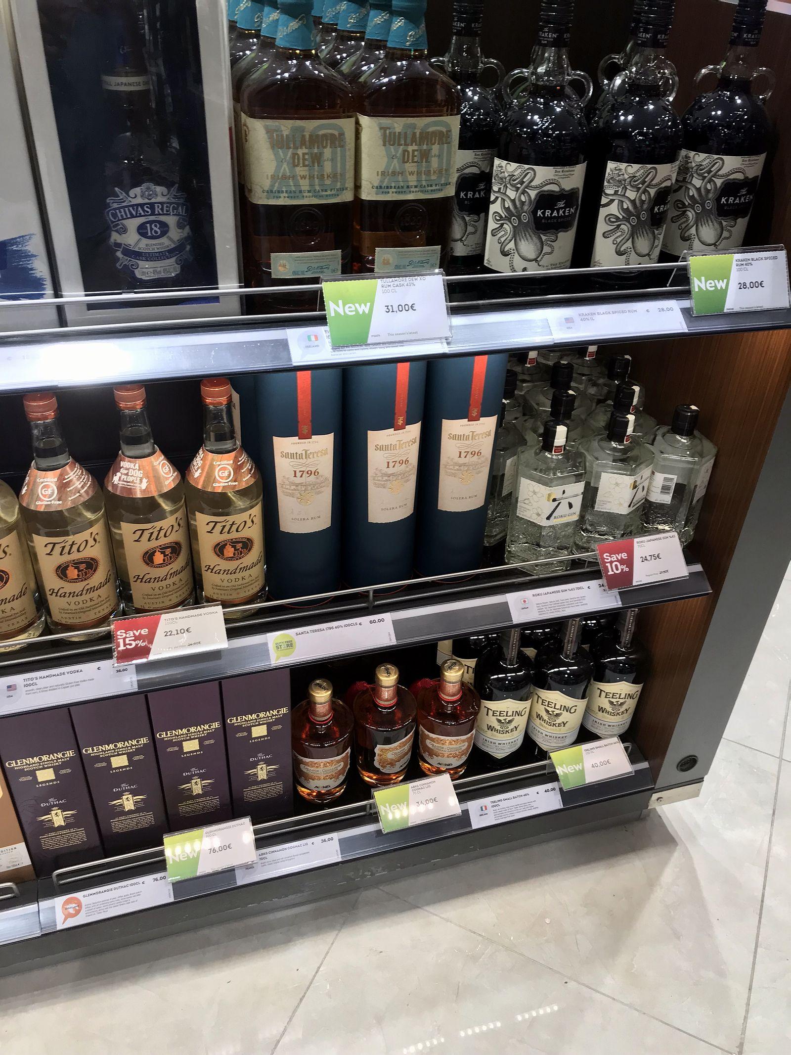 Duty free Antalya, august 2019, rum Kraken, Tito's vodka, Tullamore Dew, Santa Teresa 1796
