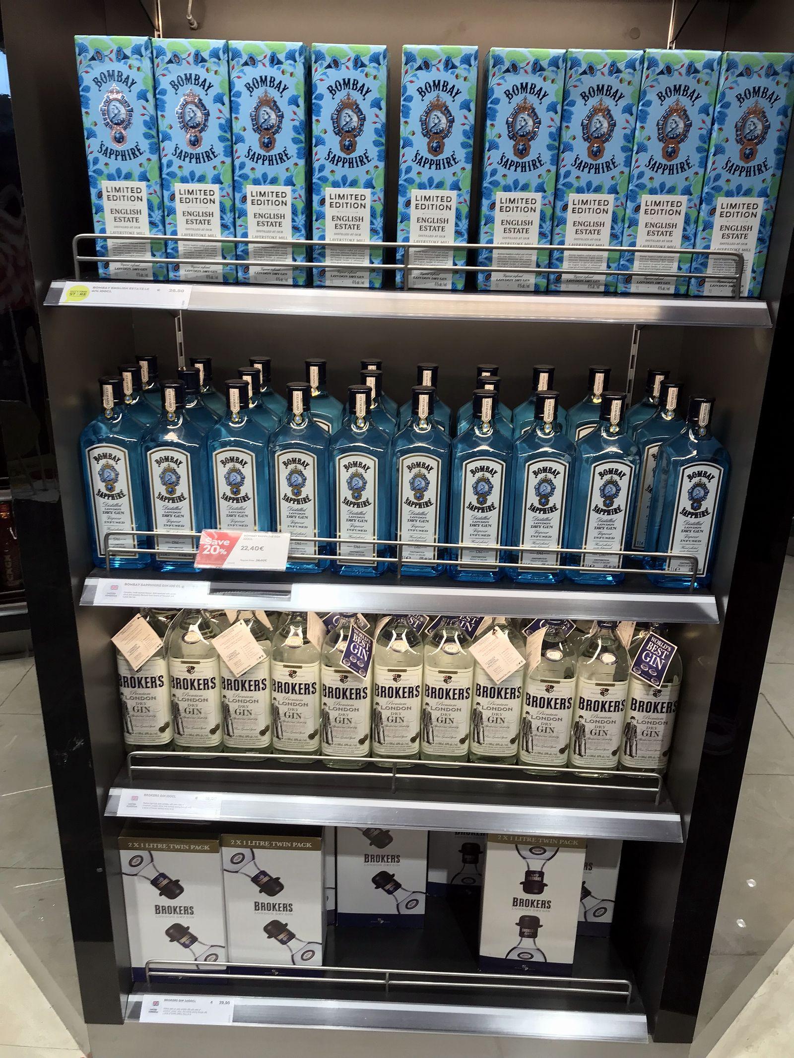 Duty free Antalya, august 2019, Gin Bombay Sapphire, Broker's