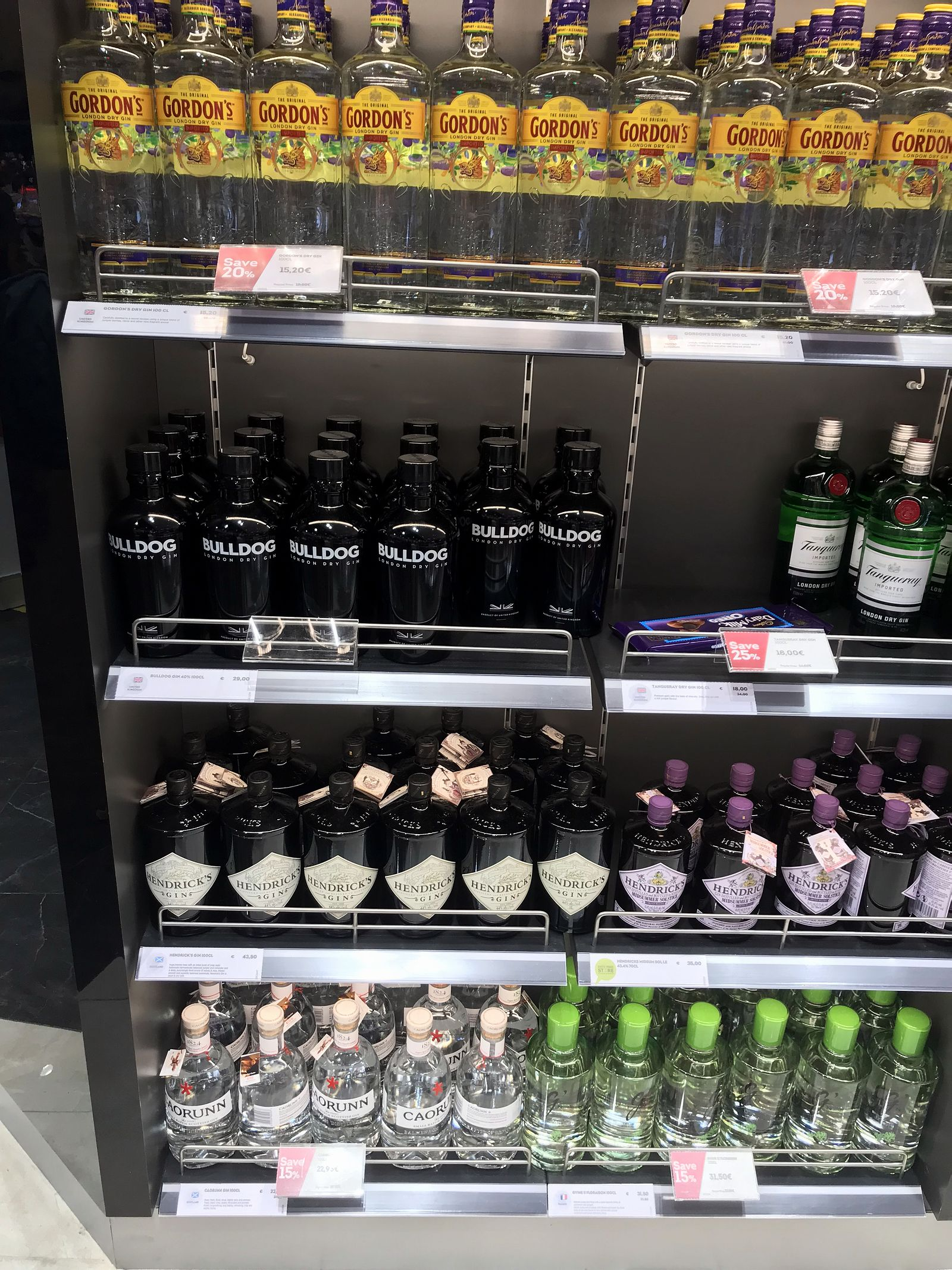 Duty free Antalya, august 2019, Gin Gordon's, Bulldog, Hendrick's