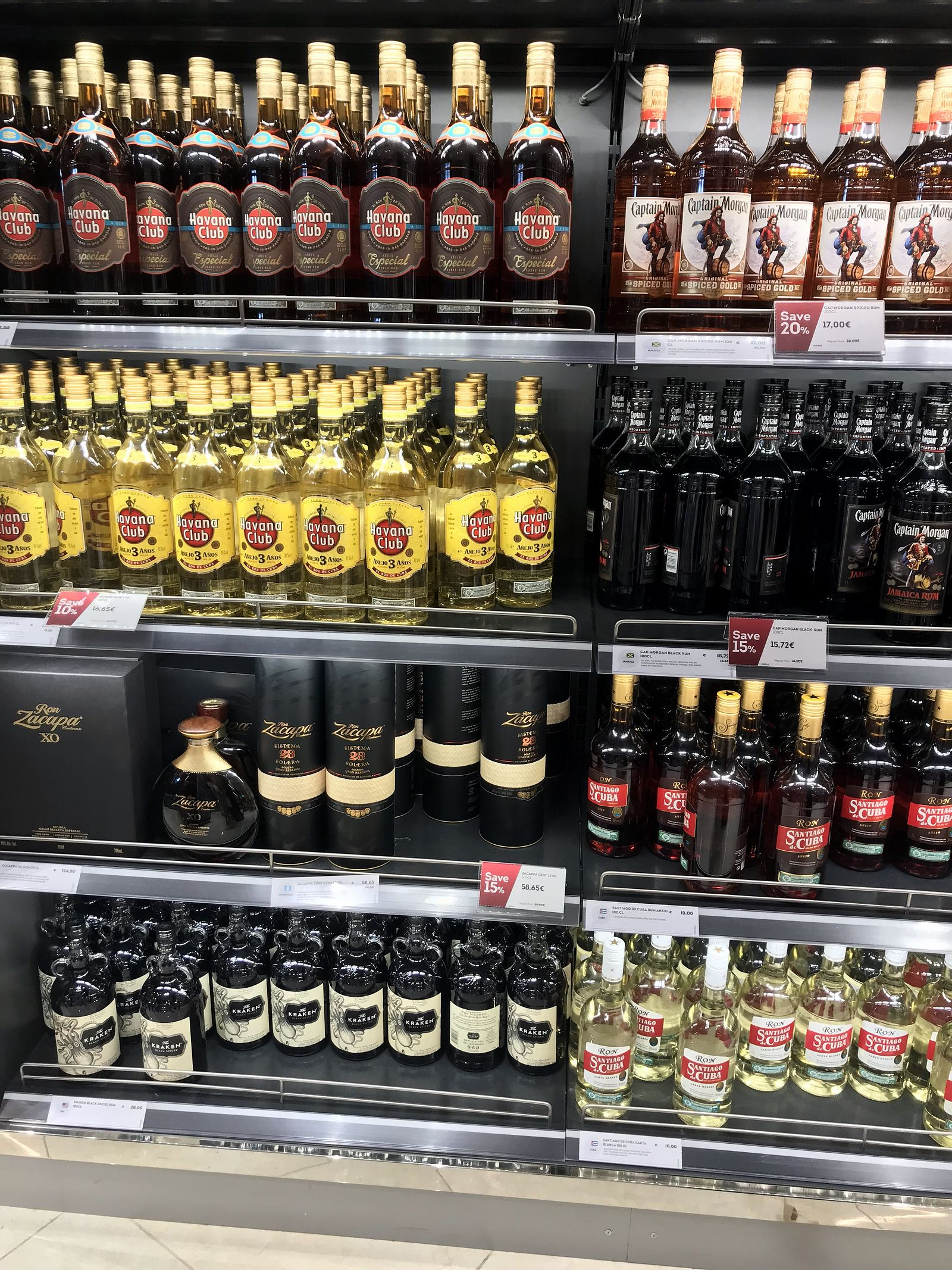 Duty free Antalya, august 2019, rum Havana Club, Captain Morgan, Santiago de Cuba