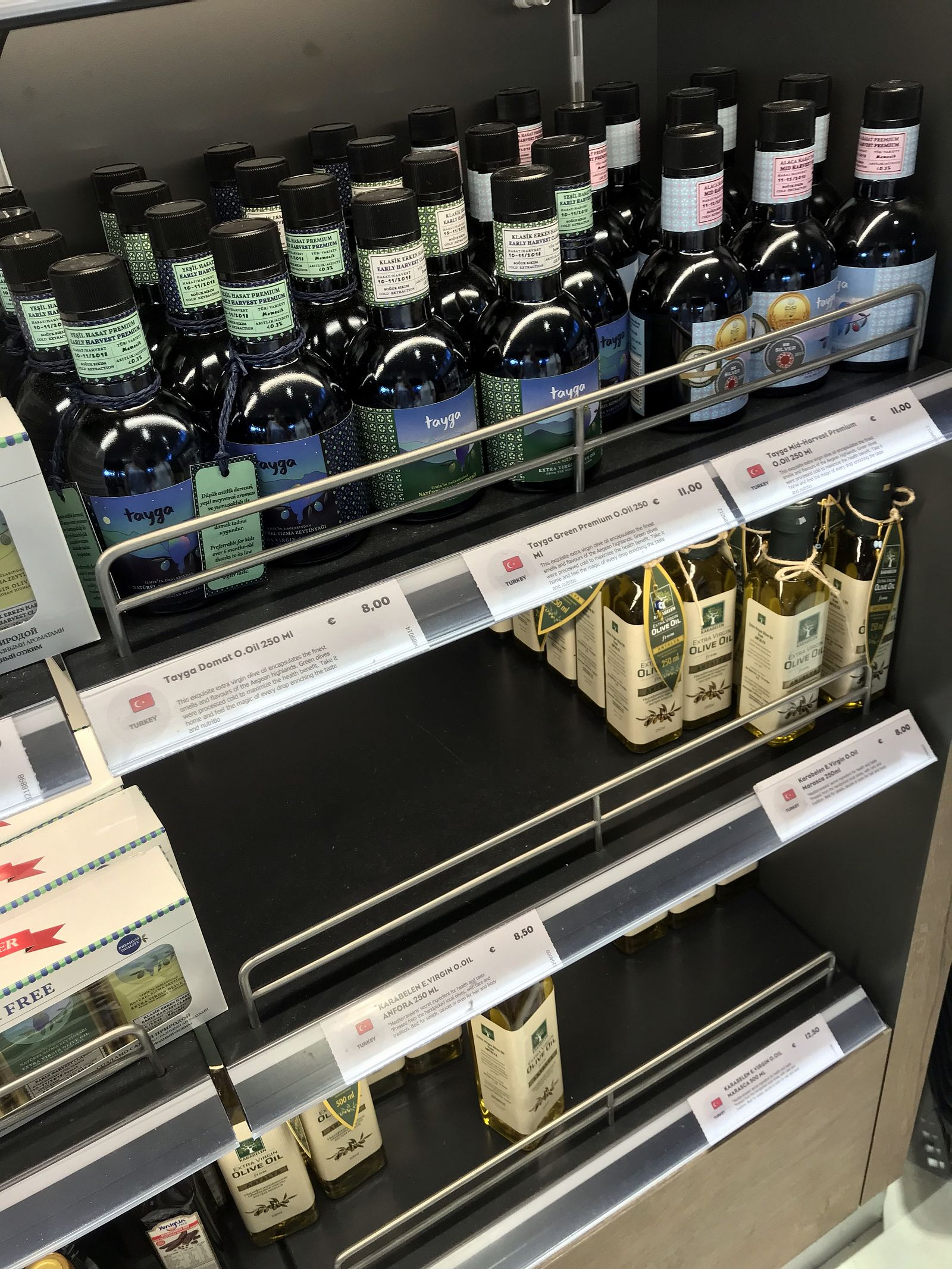Duty free Antalya, august 2019, turkish olive oil