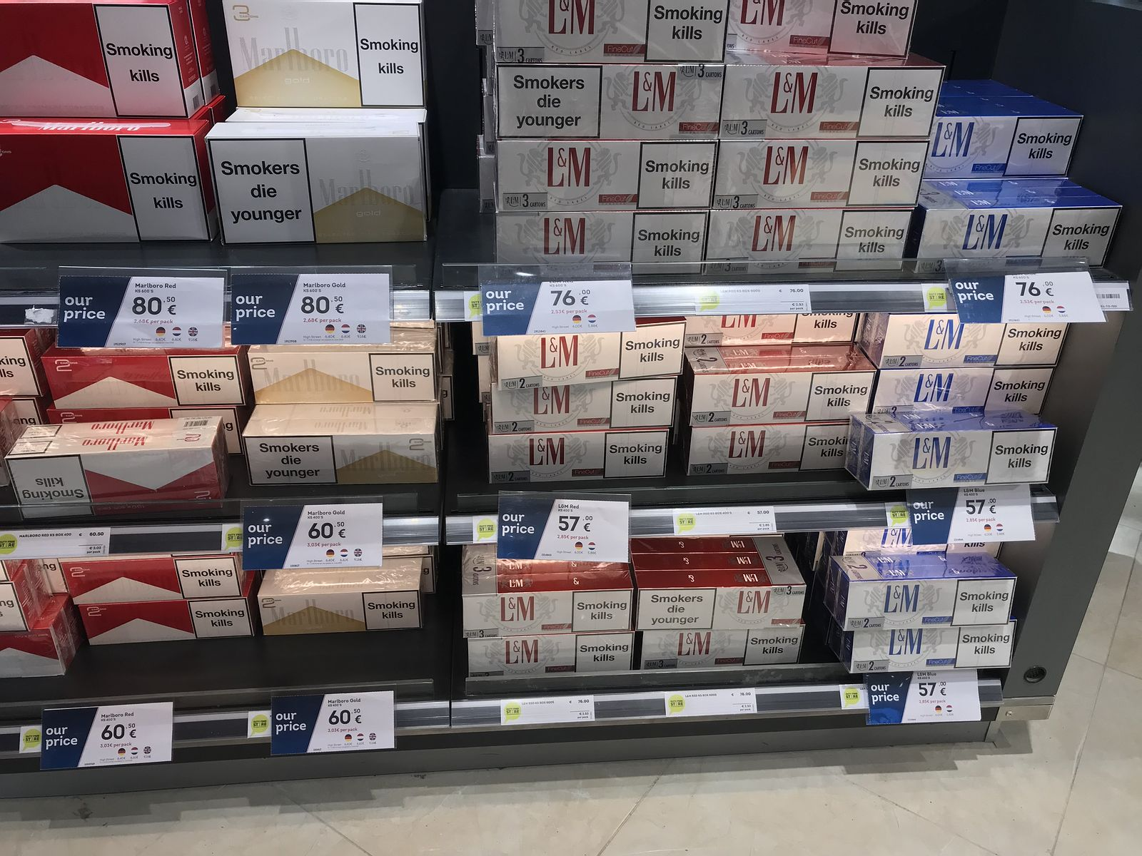 Duty free Antalya, august 2019, cigarettes
