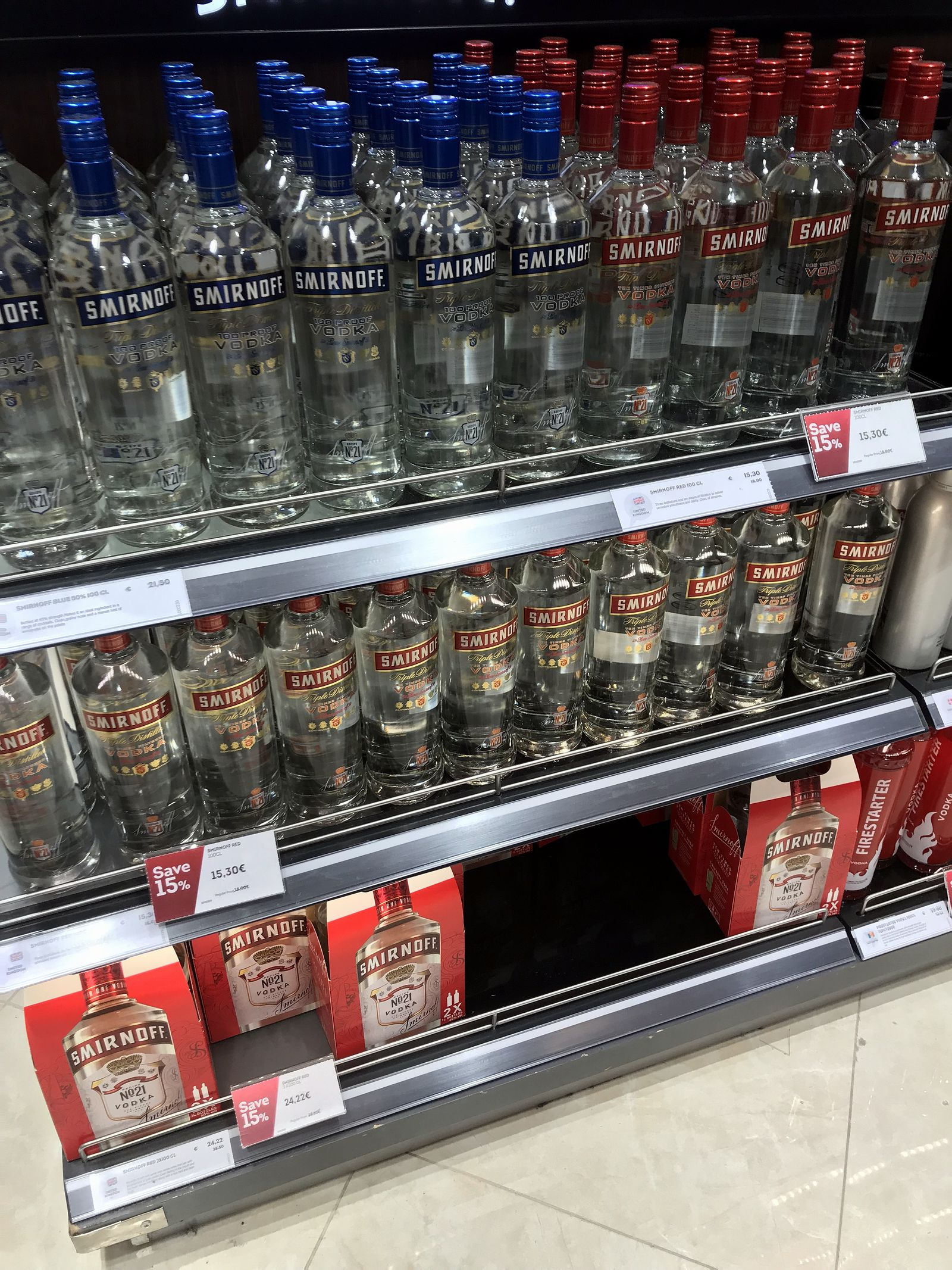 Duty free Antalya, august 2019, smirnoff vodka