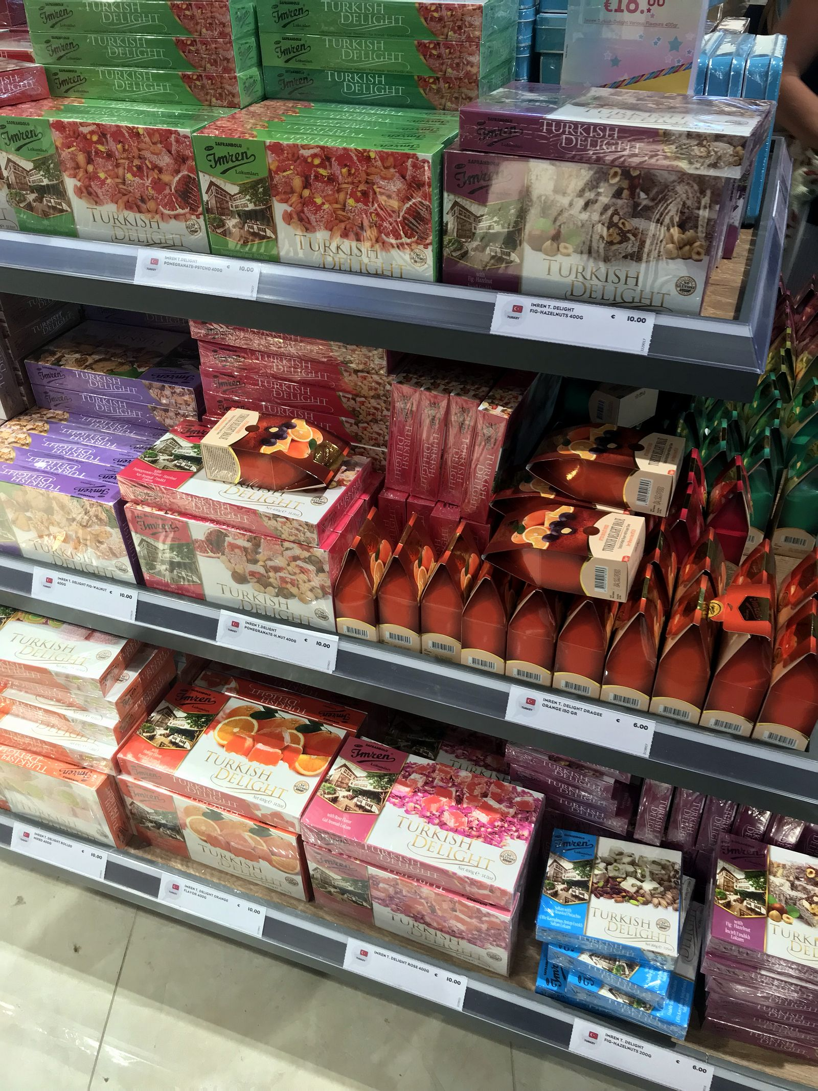 Duty free Antalya, august 2019, turkish delight
