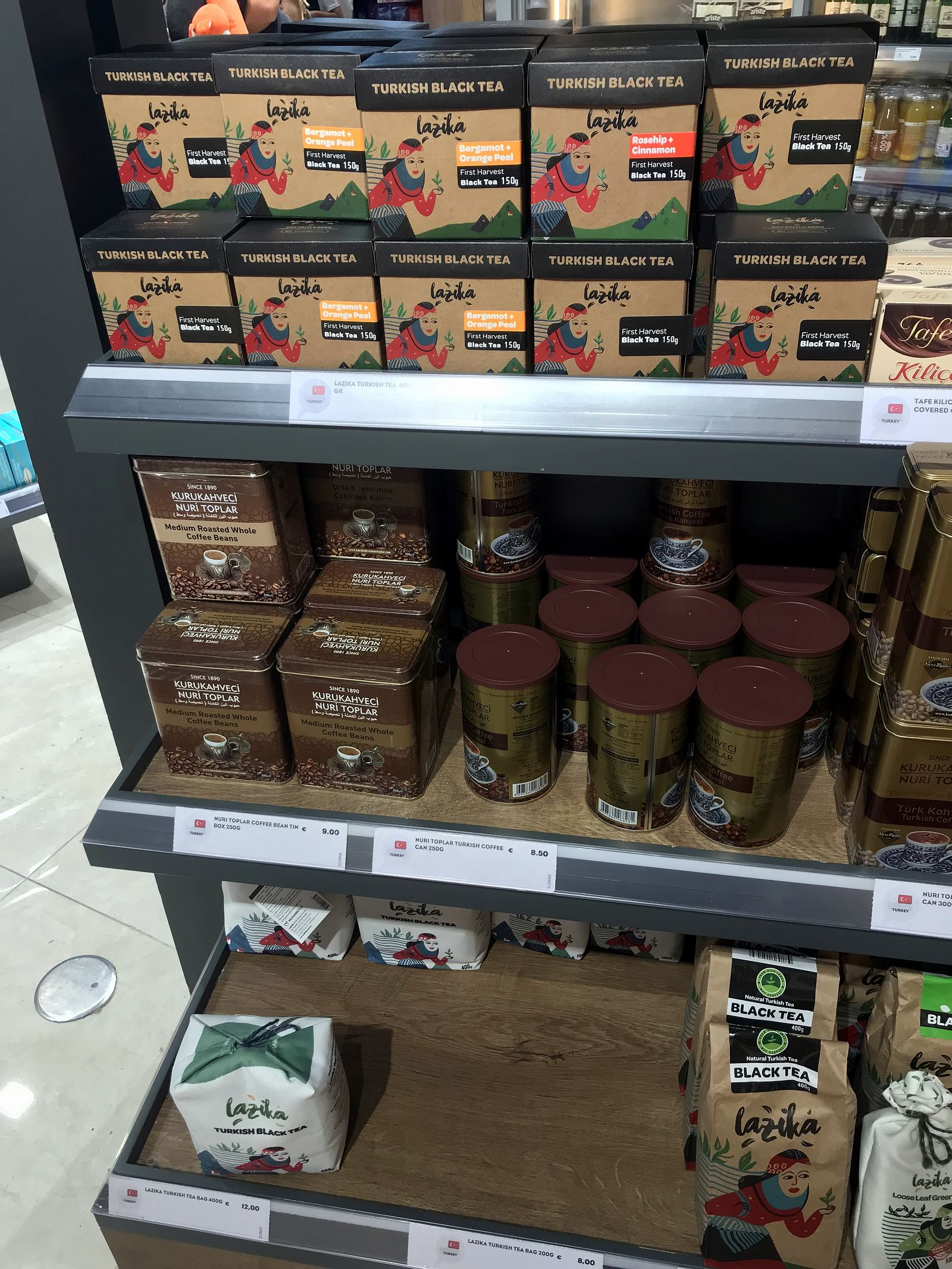 Duty free Antalya, august 2019, turkish tea,  turkish coffee