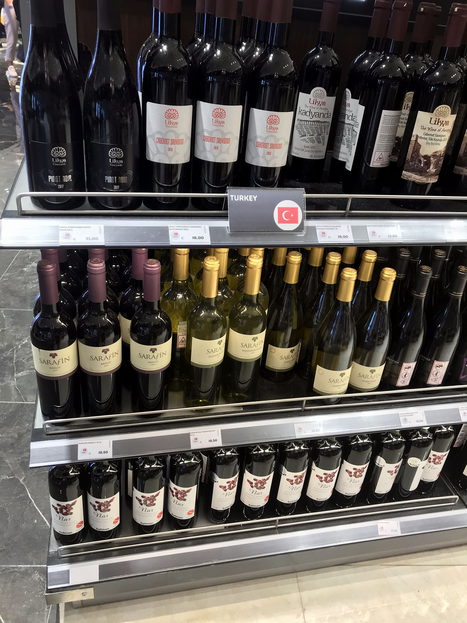 Duty free Antalya, august 2019, turkish wine