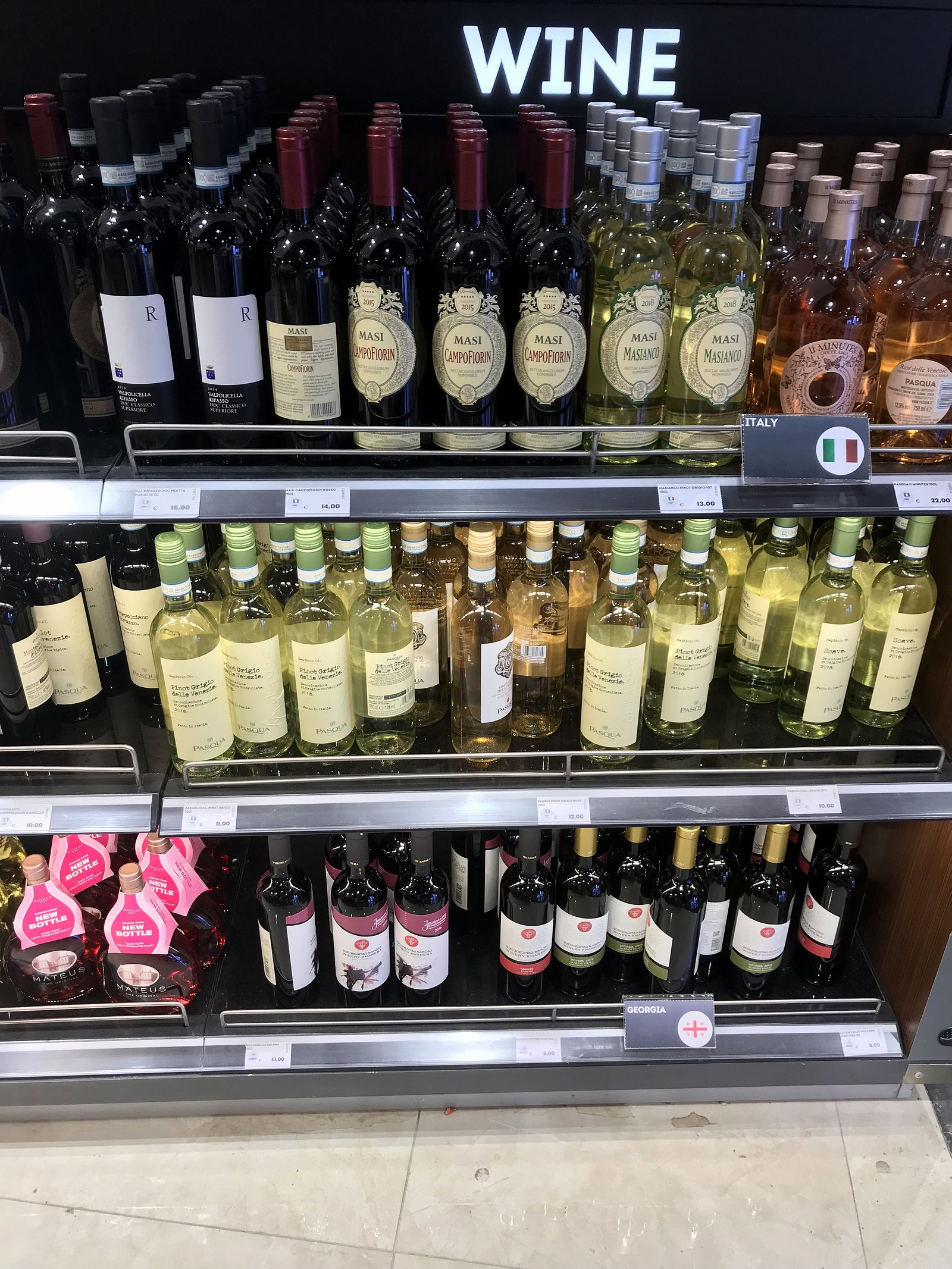 Duty free Antalya, august 2019, wine